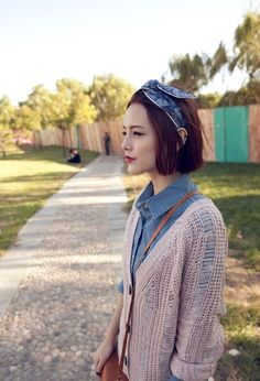 cardigan over denim with adorable vintage headband.