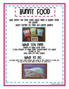 bunny food: edible easter grass, sprinkles and orange tic tacs! EEK cute :)