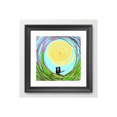 Kitty Cat Love Framed Art Print ($40) ❤ liked on Polyvore featuring home, home decor, wall art, framed wall art, cat wall art and cat home decor