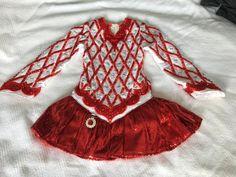Beautiful Red Gavin Doherty Irish Dance Dress Solo Costume For Sale