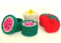 Crochet Food, Crochet Crafts, Crochet Stitches, Crochet Patterns, Cross Stitching, Coasters, Applique, Textiles, Beads