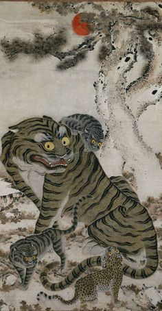 """artistsanimals: """"Title: Tiger Family Date: Joseon dynasty, late Medium: hanging scroll; ink and color on paper Size: x cm x 35 in) Description: """"The Korean tiger was. Tiger Painting, Mural Painting, Family Painting, Asian Tigers, Korean Painting, Image Chat, Art Asiatique, Cleveland Museum Of Art, Art Japonais"""