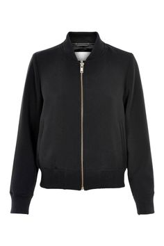 The perfect alternative to a cardigan - this new effortless stylish and simple InWear bomber jacket is designed in a soft double weave with two side pockets, a matching gold zipper and ribbed edges.   Black Bomber Jacket by Inwear. Clothing - Jackets, Coats & Blazers - Bombers Canada