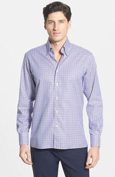 Men's Canali Regular Fit Check Sport Shirt