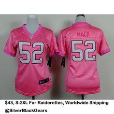 Khalil Mack Pink RaidersJersey For Ladies. Contact For More Details. Kik:SilverBlackGears, Email: TrustedFashionInc@Gmail.com