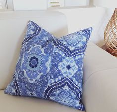 Blue Bohemian Pillows Indigo Cushions Denim by IslandHomeEmporium