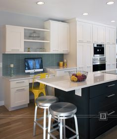 Kitchen Desk Cabinetry With Open Shelving. Transitional Kitchen White  Painted Cabinets.