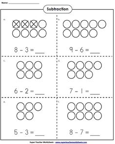 Subtraction Worksheets for Kids. 20 Subtraction Worksheets for Kids. Kindergarten Addition Worksheets, Subtraction Kindergarten, Addition And Subtraction Worksheets, Kindergarten Math Worksheets, Math Addition, Preschool Math, Math Classroom, Teaching Math, In Kindergarten