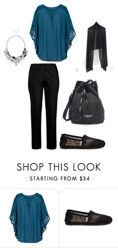 """""""nette outfit zwart petrol - plus size"""" by doortje77 on Polyvore featuring mode en TOMS"""
