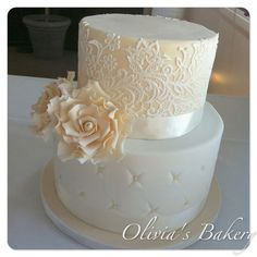 "Base Tier: kinda ""chesterfield"" style: white fondant, ivory sugar pearls;  Top Tier: ivory fondant, white sugarVeil lace; roses ..."