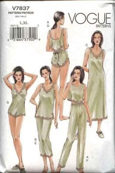Vintage Lingerie Vogue Sewing Pattern 7837 Misses Size Lingerie Camisole Shorts Teddy Top Nightgown Pants - Lingerie Retro, Classic Lingerie, Sewing Lingerie, Sexy Lingerie, Petite Lingerie, Lingerie Patterns, Vintage Dress Patterns, Clothing Patterns, Nightgown Pattern
