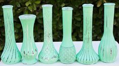 Minze grüne Vase Satz von 6 schäbig schicke von RedEggBoutique