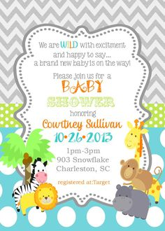 12 Jungle Animals Baby Shower invitations safari por noteablechic, $12.50