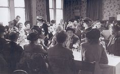 The wedding breakfast of Margaret's schoolfriend Shirley Ellis (nee Walsh) in Grantham in 1947. Margaret (circled) wore a distinctive little hat. Photo: Shirley Ellis