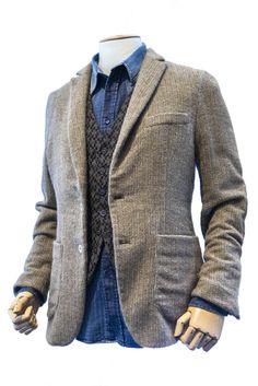 Layers  Knit Blazer Knit vest Denim shirt