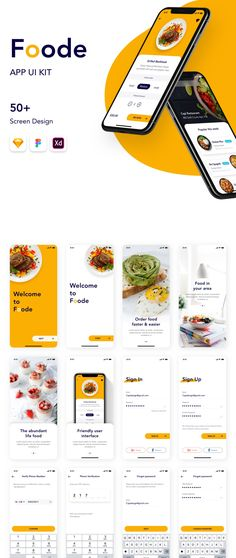Foode Food Order Mobile App UI Kit - Delivery Food - Ideas of Delivery Food - Package includes 50 Screen Sketch Figma & Xd files. Perfect tool to help you create food ordering & food delivery apps. Menu Mobile, Bar Mobile, Mobile App Ui, Dashboard Mobile, Ui Design Mobile, App Ui Design, Mobile App Design Templates, Mobile Application Design, Site Design
