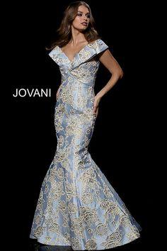 272ef0dc1ec0 jovani Silver Gold Off the Shoulder V Neck Mermaid Evening Dress 39724 Off  Shoulder Gown