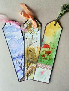 Orijinal Suluboya Kitap Ayraçları, #Watercolor #handpaint #handmade #original #bookmarks
