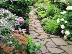 Gartenweg Mit Gras-in den Fugen