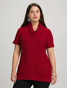 Plus Size Textured Cowl Neck Pocket Sweater | Dressbarn