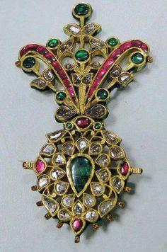 Ottoman turban jewel. C. 18th century. Ruby, emerald and diamond.