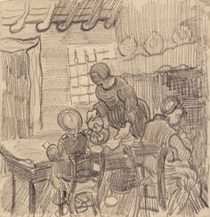 'I wish you a happy Christmas and a good New Year.' – Vincent van Gogh to Anna van Gogh-Carbentus in December 1889.  Full letter: http://vangoghletters.org/vg/letters/let831/letter.html  Image: Vincent van Gogh (1853-1890), Interior with three figures at a table, 1890. Van Gogh Museum, Amsterdam. #Christmas