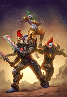 Fighters by Kresto-The-Artist on DeviantArt Warcraft Heroes, Warcraft Art, World Of Warcraft Characters, Tomb Raider Cosplay, Wow World, Oc Challenge, Medieval World, Funny Art, Fantasy Art