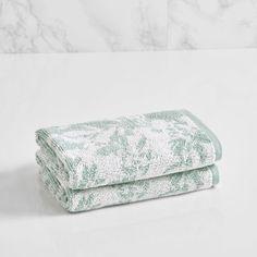 LOFT by Loftex Floral Block Washcloth Color: Sterling Blue/Sugar Swizzle