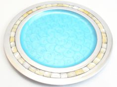 Beautiful Aluminum Circular Tray with Mother of Pearl on the Rim and Glazed Enamel Finish  $65.00