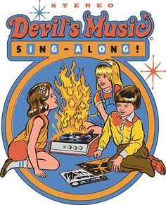 """Devil's Music Sing-Along"" Stickers by Steven Rhodes Bizarre Kunst, Bizarre Art, Retro Kunst, Retro Art, Le Kraken, Just Kids, Music Sing, Hippie Art, Photo Wall Collage"