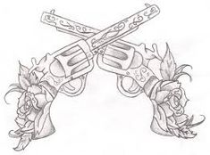 Guns and roses shaded by on DeviantArt Tattoo Design Drawings, Tattoo Sketches, Art Sketches, Art Drawings, Tattoo Designs, Rose Tattoos, Flower Tattoos, Body Art Tattoos, New Tattoos