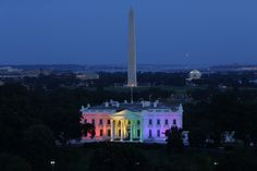 On the last night of the Obama administration the White House is lit with a rainbow of love.
