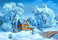 домик в лесу зимой - Поиск в Google