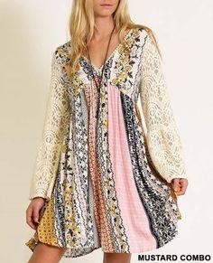 Boho Patchwork Empire Waist Lace Bell Sleeve Floral White Cream Pink Dress S M L #Kori #EmpireWaist #Casual