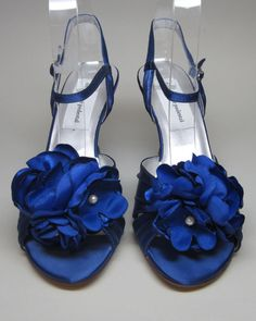 Wedding Shoes  Blue Velvet Wedding Wedges by DesignYourPedestal