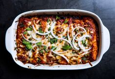 Winter Squash And Short-Rib Enchiladas Caramelized onions and poblano peppers would be delicious and will lighten up the filling. Enchiladas, Quesadillas, Tortillas, Tostadas, Nachos, Roasted Squash, Butternut Squash, Enchilada Recipes, Enchilada Sauce