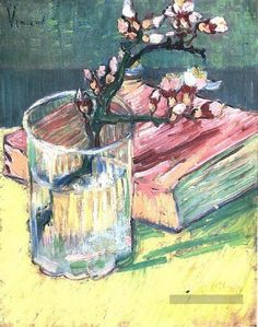 Blossoming Almond Branch in a Glass with a Book Vincent van Gogh