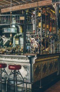 Step Inside 'Truth,' a Steampunk Coffee Shop in Cape Town, South Africa Steampunk-Kaffeestube in Kapstadt, Südafrika Design Steampunk, Steampunk Interior, Steampunk Cafe, Style Steampunk, Steampunk House, Steampunk Furniture, Steampunk Theme, Cafe Bar, Coffee Shops Cape Town