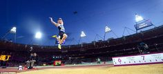 Greg Rutherford on his way to winning gold in the men's long jump