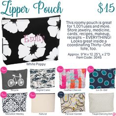 Zipper Pouch  by Thirty-One. Fall/Winter 2016. Click to order. Join my VIP Facebook Page at https://www.facebook.com/groups/1603655576518592/