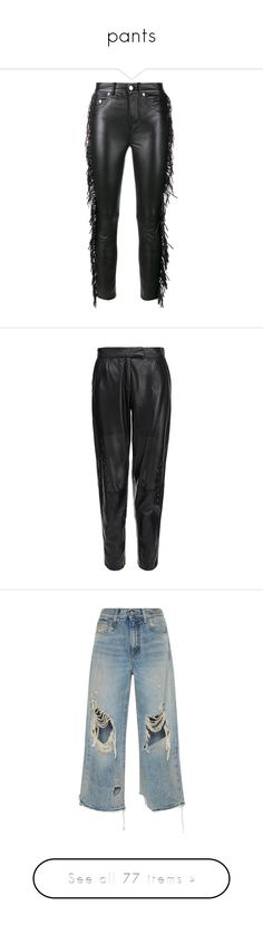 """""""pants"""" by geld-1 ❤ liked on Polyvore featuring pants, jeans, trousers, bottoms, black, real leather pants, slim fit pants, leather trousers, cowgirl pants and slim pants"""