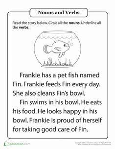 First Grade Grammar Worksheets: Parts of Speech Practice: Hal and the Fish