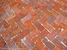 Herringbone brick paving
