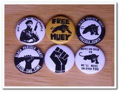 BLACK PANTHER buttons pins badges pinback black power,