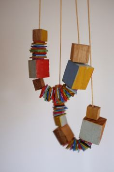 """""""Outsider Necklace"""" by Stampel - This necklace features both post manufacture leather and timber"""