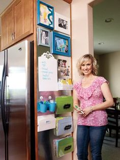 A mom of three, Landee Anderson, 36, needed a place to stash school papers and jot down grocery lists. Turned out, the perfect spot was staring her right in the face. Using a piece of custom-cut sheet metal, the Boulder, CO, resident created a to-do hub on an unused cabinet surface for less than $100.