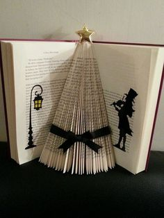 Folded book art victorian christmas tree black ribbon xmas