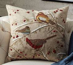 Birds on Branch Embroidered Pillow Cover #potterybarn