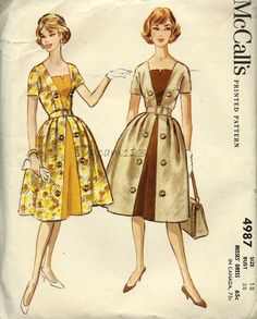Vintage 1950s Pattern Square Neckline Dress Contrast Inset Panel 1959 McCall's 4987 Uncut by sydcam123