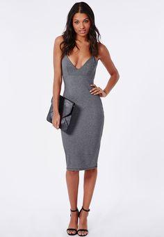 Missguided - Elastane Bodycon Midi Dress Grey